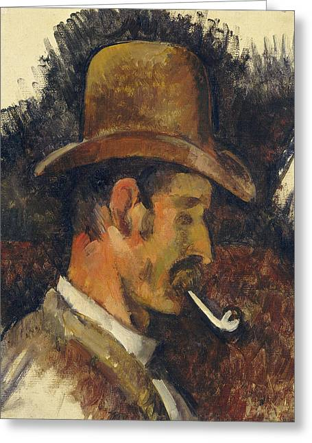 Sideburns Paintings Greeting Cards - Man With Pipe Greeting Card by Paul Cezanne