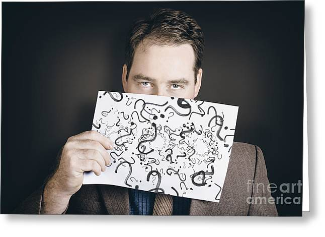Man With Questions Holding Question Mark Paper Greeting Card by Jorgo Photography - Wall Art Gallery