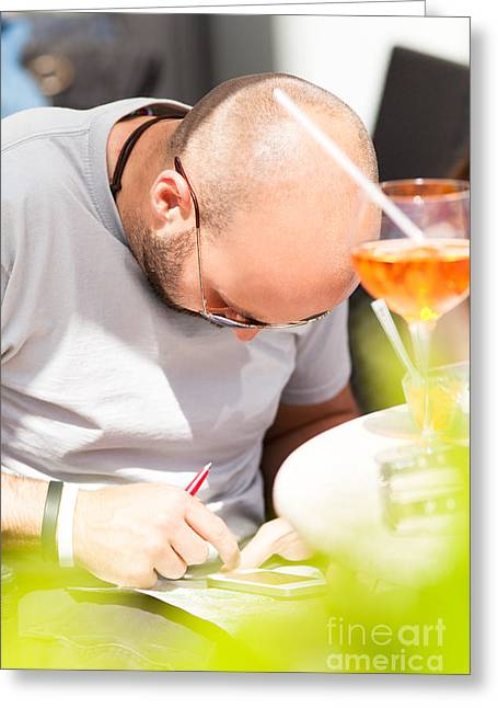 Drink Greeting Cards - Man with Smartphone Greeting Card by Wolfgang Steiner
