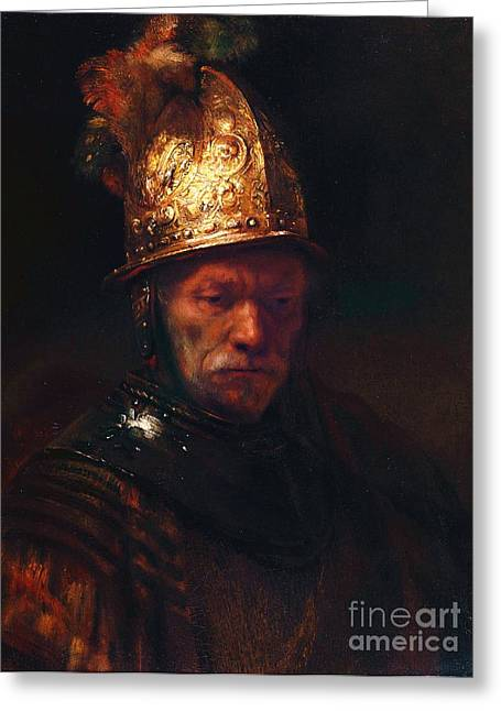 Dutch Masters Greeting Cards - Man With The Golden Helmet Greeting Card by Pg Reproductions