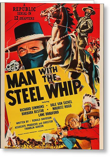 Indian Actor Greeting Cards - Man With The Steel Whip 1954 Greeting Card by Mountain Dreams