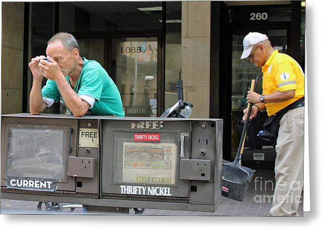 Street Sweeper Greeting Cards - Man With Tweezers Greeting Card by Joe Jake Pratt