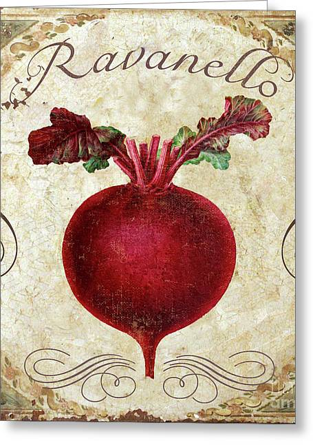 Mangia Radish Greeting Card by Mindy Sommers