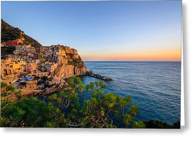 Buildings By The Sea Greeting Cards - Manarola and green vegetation at sunset Greeting Card by Catalin Tibuleac