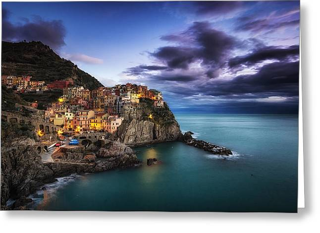 Italian Sunset Greeting Cards - Manarola Blues Greeting Card by Insung Choi