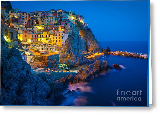 Recently Sold -  - Italian Sunset Greeting Cards - Manarola by night Greeting Card by Inge Johnsson