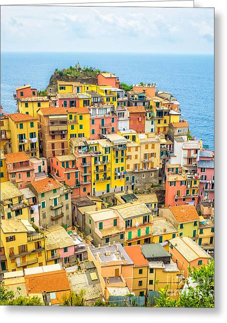 Florence Greeting Cards - Manarola Cinque Terra City Greeting Card by Edward Fielding