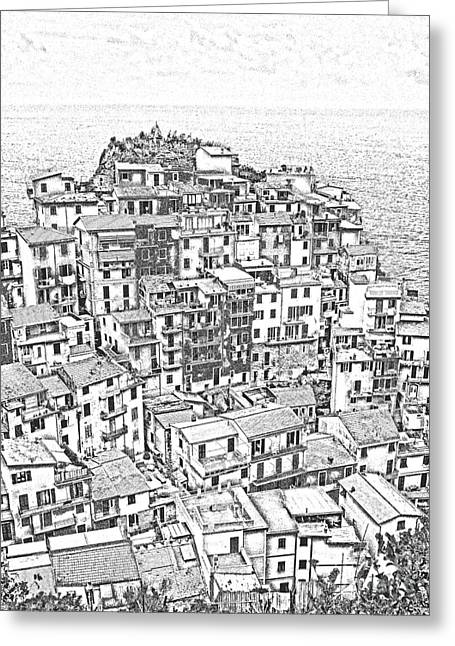 Panoramic Ocean Drawings Greeting Cards - Manarola Cinque Terra Italy Greeting Card by Edward Fielding