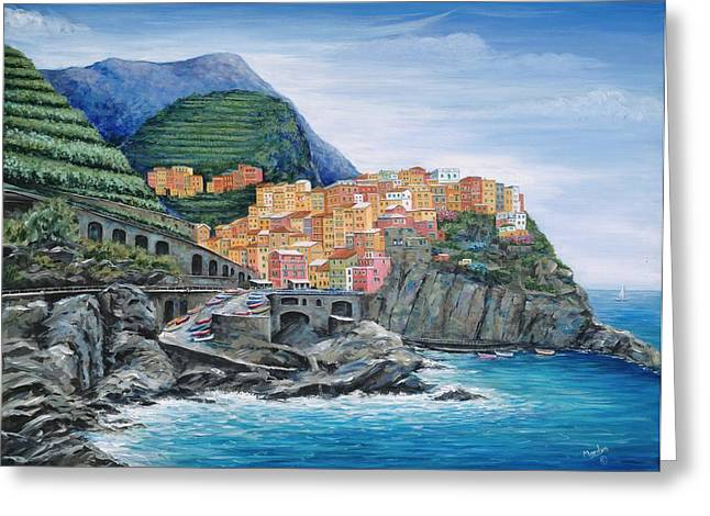 Fishing Village Greeting Cards - Manarola Cinque Terre Italy Greeting Card by Marilyn Dunlap