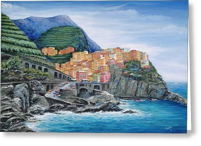 Manarola Cinque Terre Italy Greeting Card by Marilyn Dunlap