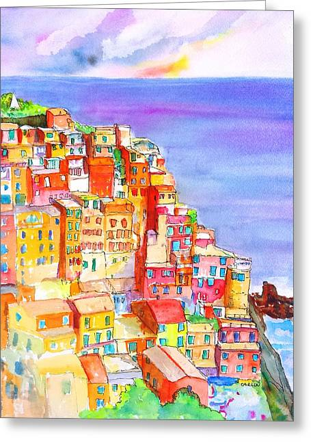 Italian Sunset Greeting Cards - Manarola in the Cinque Terre Italy Greeting Card by Carlin Blahnik