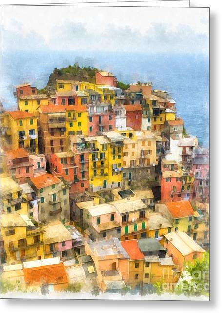 Wine Tour Paintings Greeting Cards - Manarola Italy Cinque Terre Watercolor Greeting Card by Edward Fielding