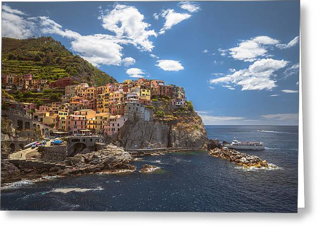 Italian Landscapes Greeting Cards - Manarola passenger delivery system Greeting Card by Chris Fletcher