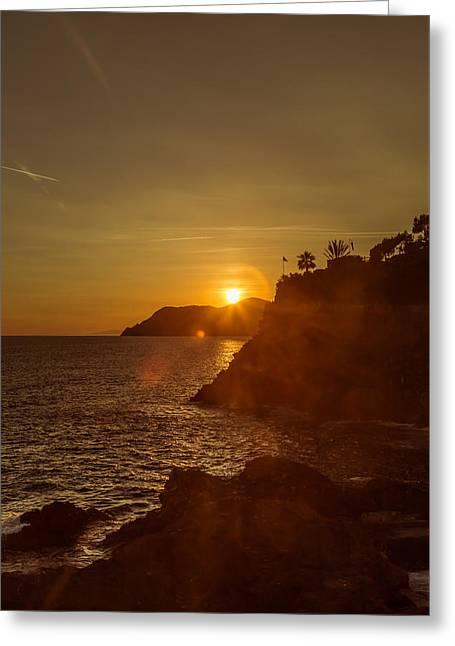 Italian Sunset Greeting Cards - Manarola sunset Greeting Card by Chris Fletcher
