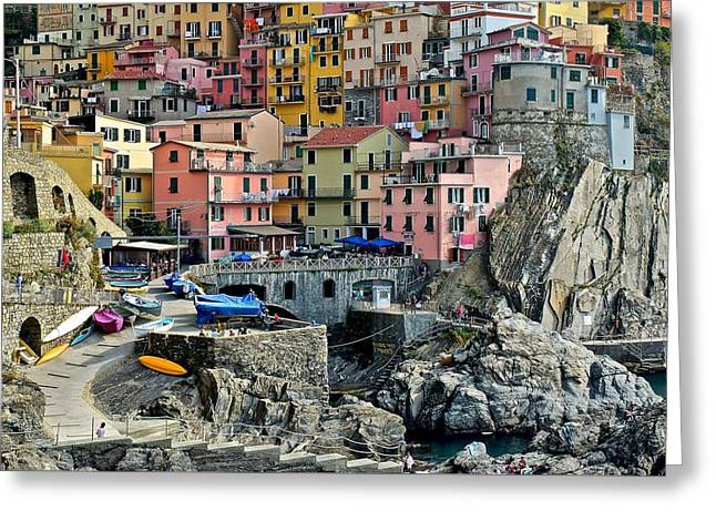 Manarola Up Close Greeting Card by Frozen in Time Fine Art Photography