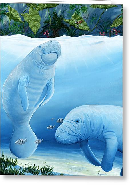 Brewer Paintings Greeting Cards - Manatee Haven Greeting Card by Randall Brewer
