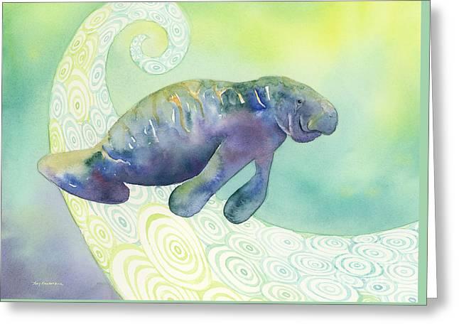 Undersea Greeting Cards - Manatee Undersea Greeting Card by Amy Kirkpatrick