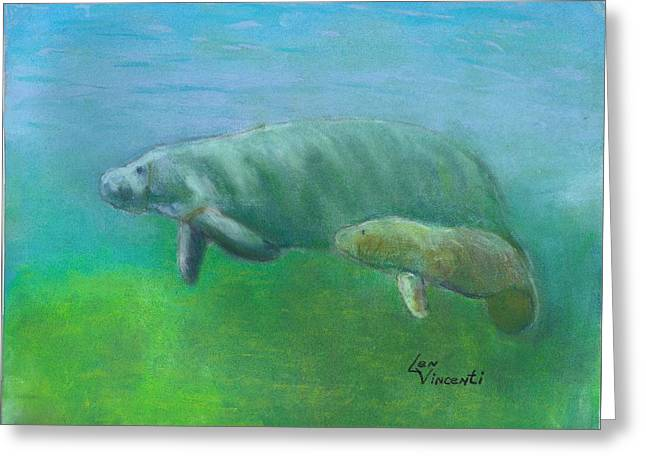 Aquatic Life Pastels Greeting Cards - Manatees Greeting Card by Len Vincenti