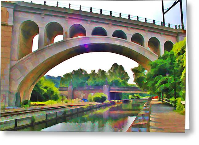 Philadelphia Greeting Cards - Manayunk Canal Greeting Card by Bill Cannon