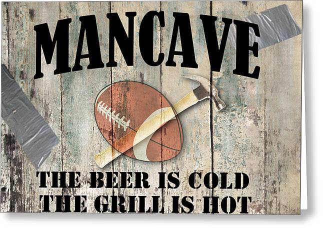 Mancave Greeting Cards - Mancave Football Greeting Card by Mindy Sommers