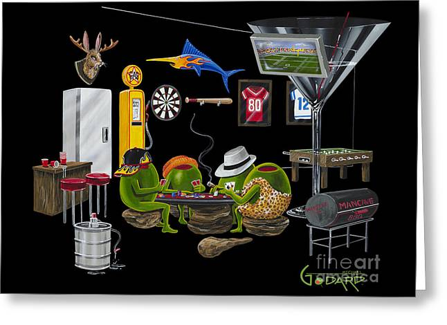 Mancave Greeting Card by Michael Godard