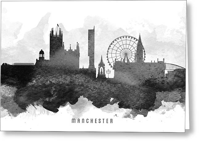 Manchester Cityscape 11 Greeting Card by Aged Pixel