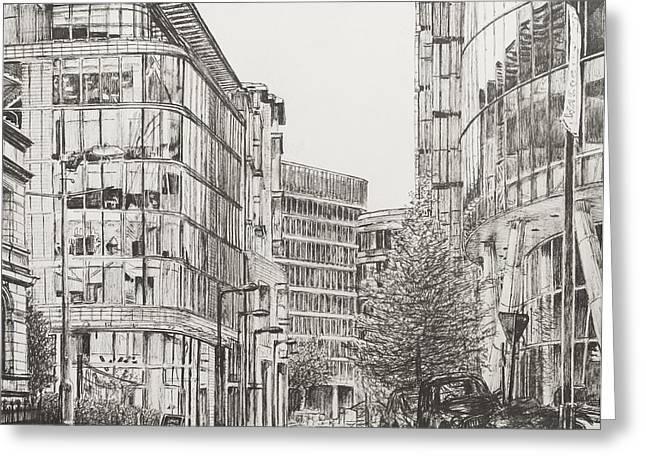 Pen And Ink Drawing Greeting Cards - Manchester  Deansgate Greeting Card by Vincent Alexander Booth