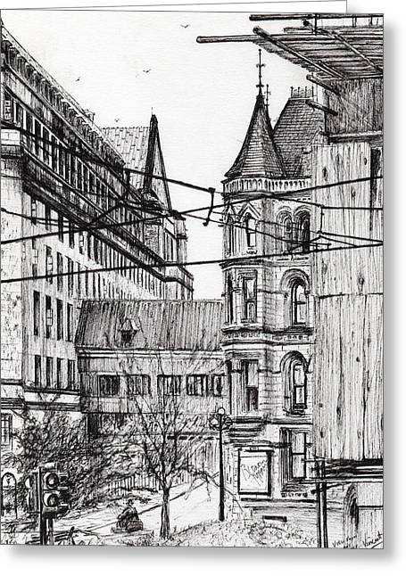 Manchester Town Hall From City Art Gallery Greeting Card by Vincent Alexander Booth