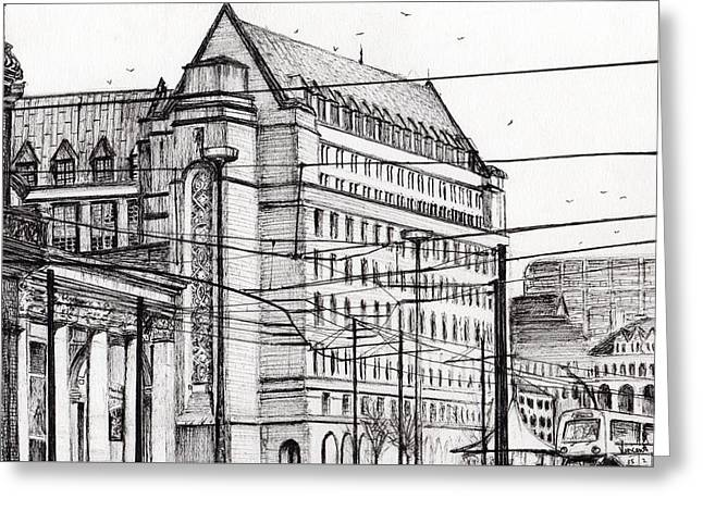 Hall Drawings Greeting Cards - Manchester Town Hall Greeting Card by Vincent Alexander Booth