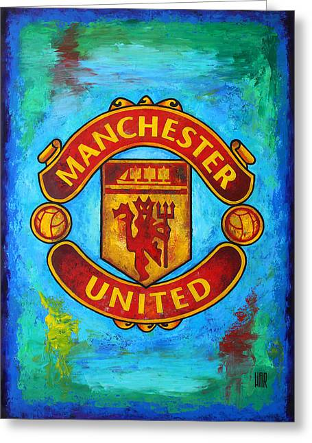 Europe Mixed Media Greeting Cards - Manchester United Vintage Greeting Card by Dan Haraga