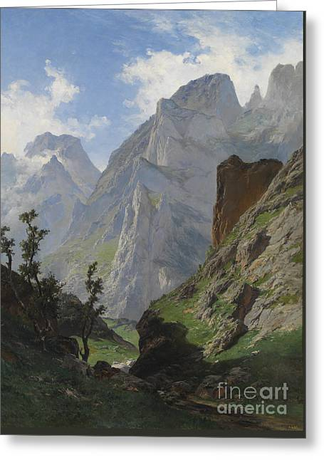 1874 Greeting Cards - mancorbo the channel in the Picos de Europa Greeting Card by Celestial Images