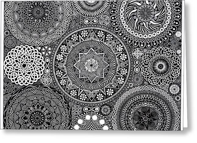 Black Drawings Greeting Cards - Mandala Bouquet Greeting Card by Matthew Ridgway