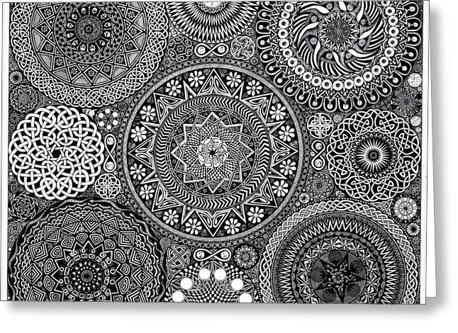 Detail Greeting Cards - Mandala Bouquet Greeting Card by Matthew Ridgway