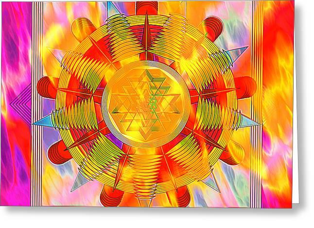 Mystic Art Greeting Cards - Mandala Burning Greeting Card by Mario Carini