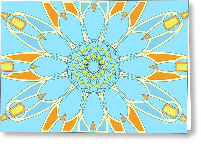Mandala Cyan And Orange, Star, Abstract Star, Birthday Gift Greeting Card by Pablo Franchi