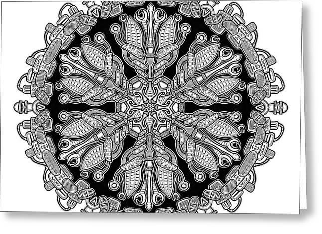 Sacred Drawings Greeting Cards - Mandala drawing 36 Greeting Card by Jim Gogarty