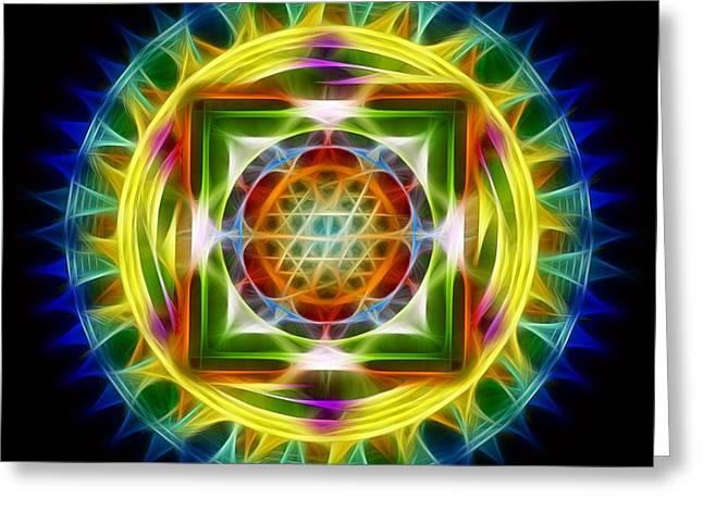 Print On Canvas Greeting Cards - Mandala Electric Greeting Card by Mario Carini
