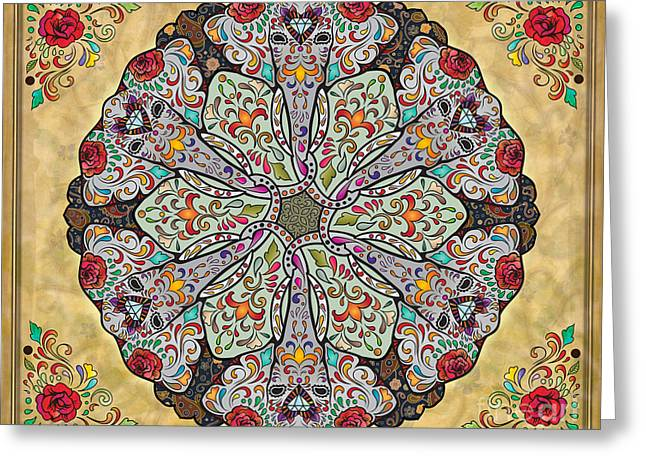 Tribal Decoration Greeting Cards - Mandala Elephants sp Greeting Card by Bedros Awak