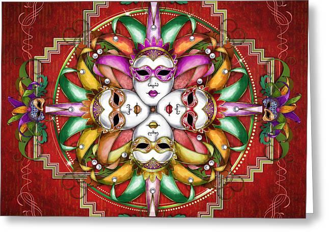Mandala Festival Masks V2 Greeting Card by Bedros Awak