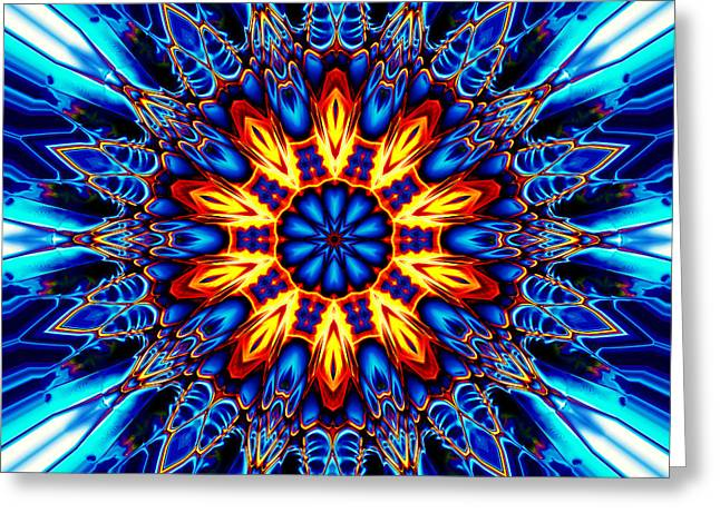 Religious Tapestries - Textiles Greeting Cards - Mandala Flower 1 Greeting Card by Marcus Mattern