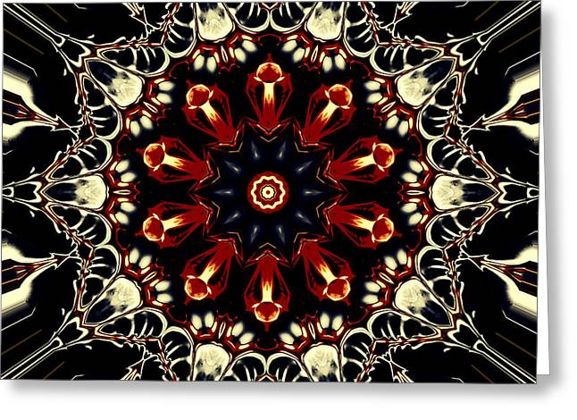 Religious Tapestries - Textiles Greeting Cards - Mandala Flower 2 Greeting Card by Marcus Mattern