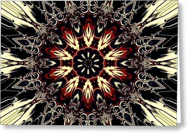Religious Tapestries - Textiles Greeting Cards - Mandala Flower 3 Greeting Card by Marcus Mattern