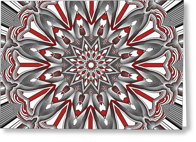 Orange Tapestries - Textiles Greeting Cards - Mandala Flower 4 Greeting Card by Marcus Mattern