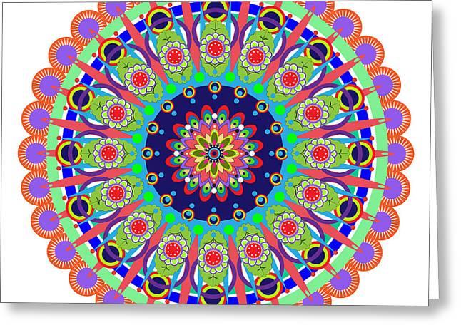 Tibetan Buddhism Greeting Cards - Mandala Greeting Card by Isabel Salvador