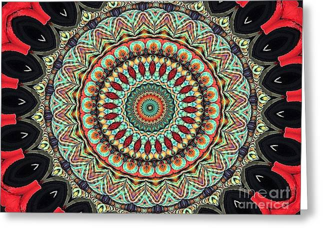 Turquoise Stained Glass Greeting Cards - Mandala No 118 Greeting Card by Lene Pieters