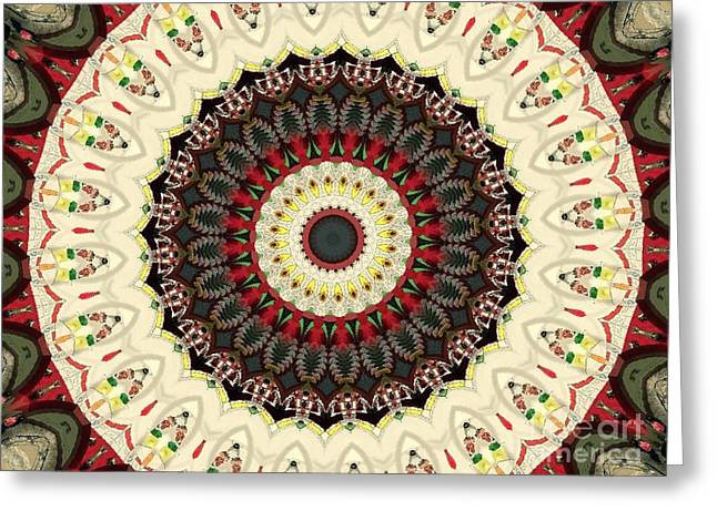 Beige Abstract Greeting Cards - Mandala No 80 Greeting Card by Lene Pieters