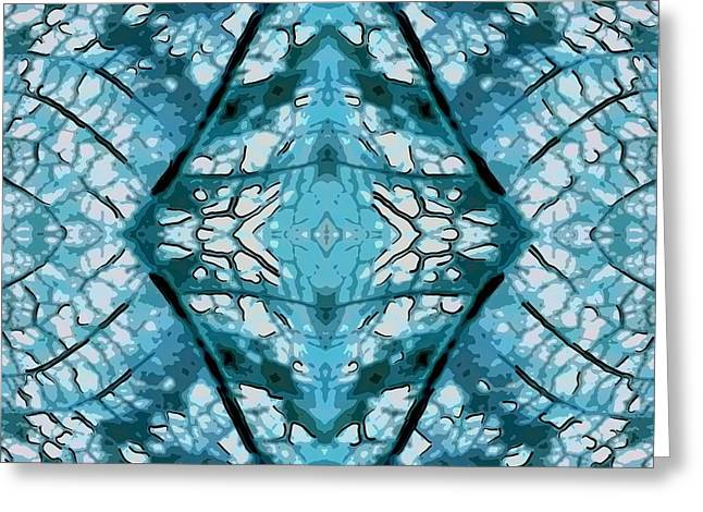 Sacred Tapestries - Textiles Greeting Cards - Mandala of a Leaf Greeting Card by Suzi Freeman