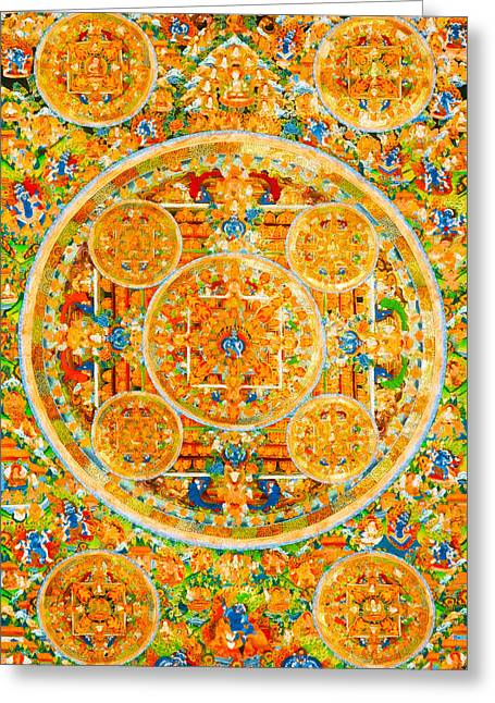 Siddharta Greeting Cards - Mandala Of Heruka In Yab Yum And Buddhas 1 Greeting Card by Lanjee Chee