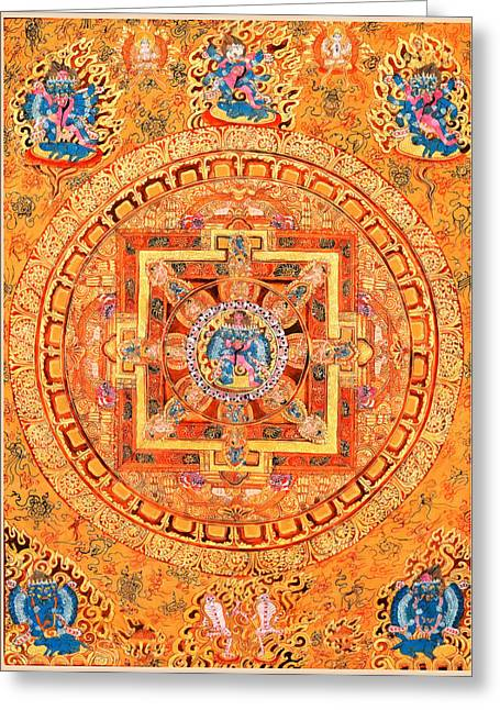 Siddharta Greeting Cards - Mandala of Heruka in Yab Yum Greeting Card by Lanjee Chee