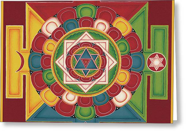 Tibetan Buddhism Greeting Cards - Mandala of the 5 Elements Earth-Water-Fire-Air-Space Greeting Card by Carmen Mensink